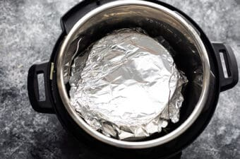 breakfast casserole loosely covered with foil in the instant pot