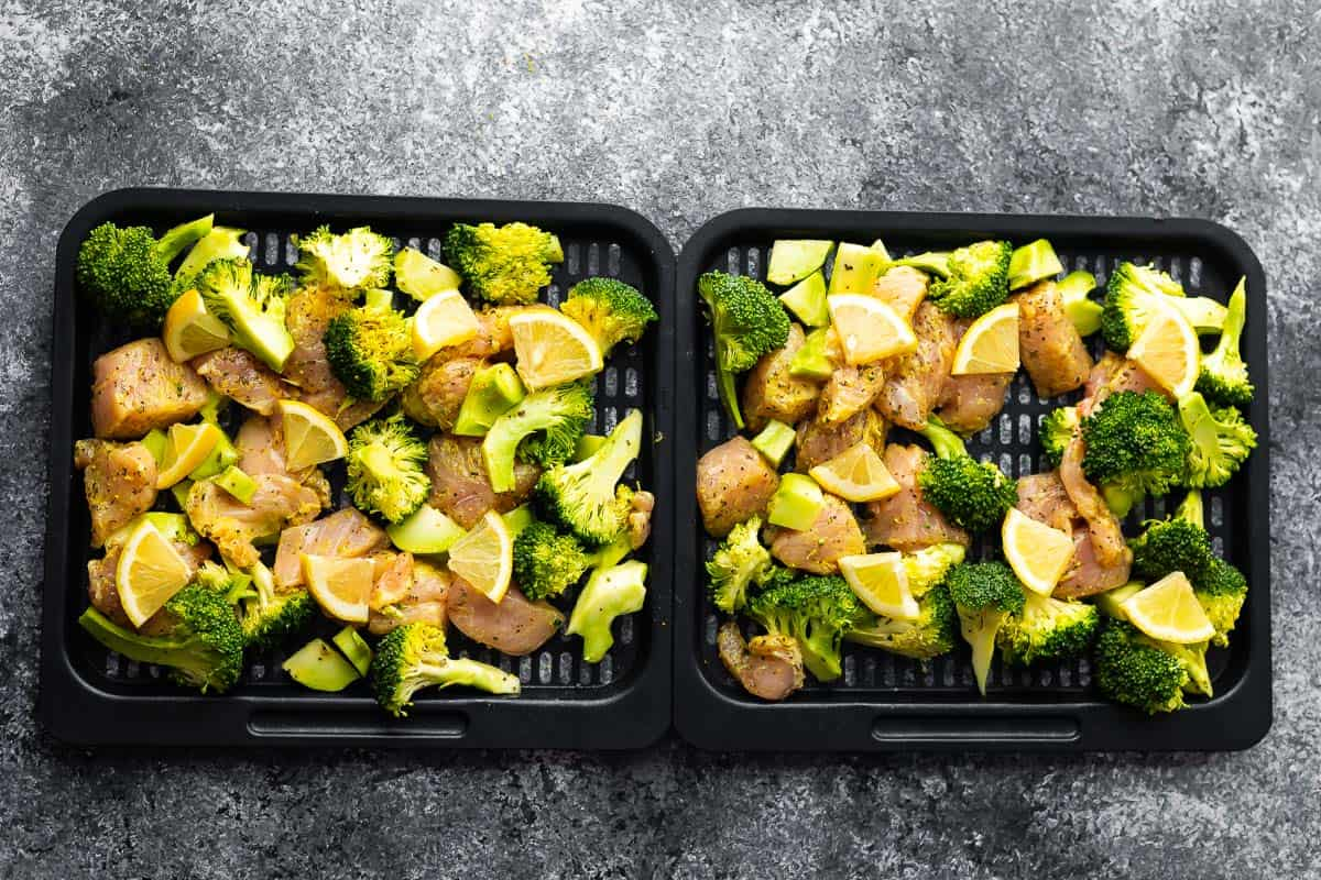 raw uncooked air fryer chicken and broccoli