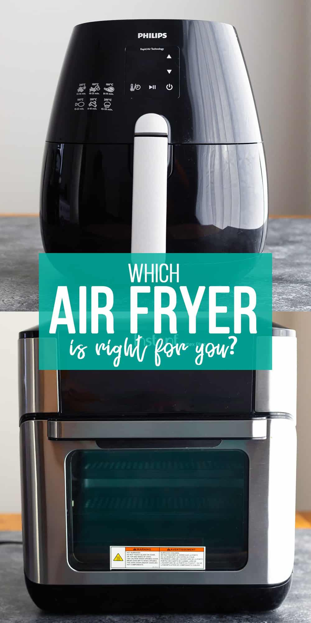 collage image that says 'which air fryer model is right for you?'