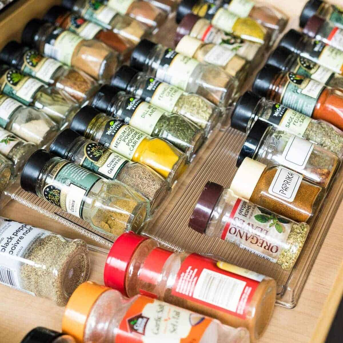 rows of spices in jars