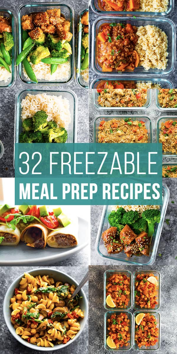 collage image with freezer friendly meal prep recipes