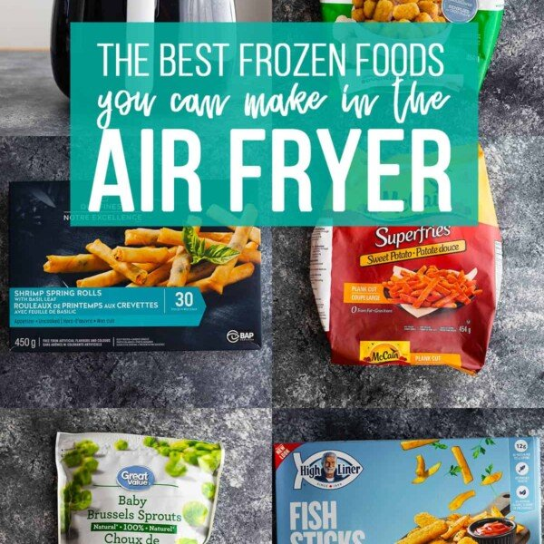 collage image showing frozen foods that can cook in the air fryer