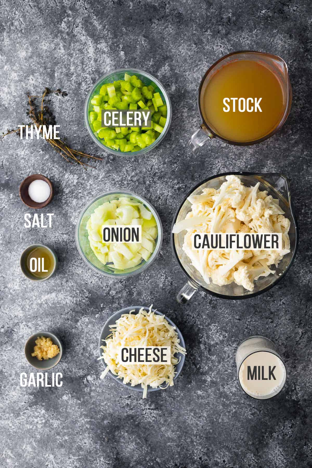 overhead view of ingredients required to make instant pot cauliflower cheese soup