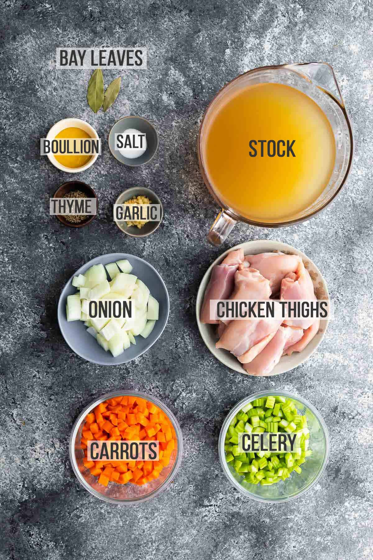 ingredients for instant pot chicken noodle soup