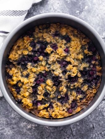 overhead view of instant pot baked oatmeal