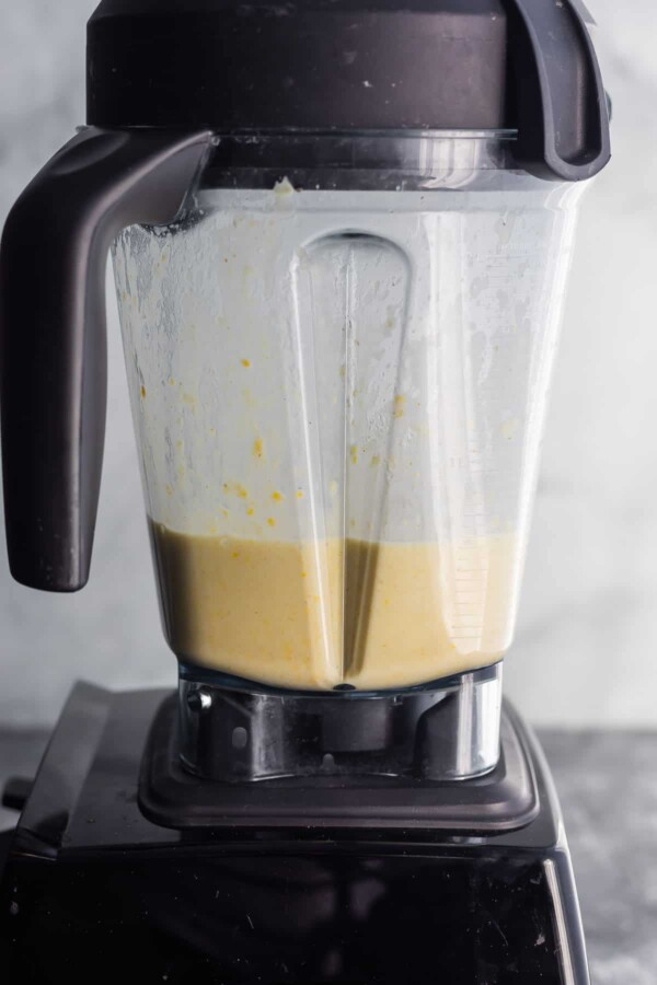 white chicken chili in a blender after blending