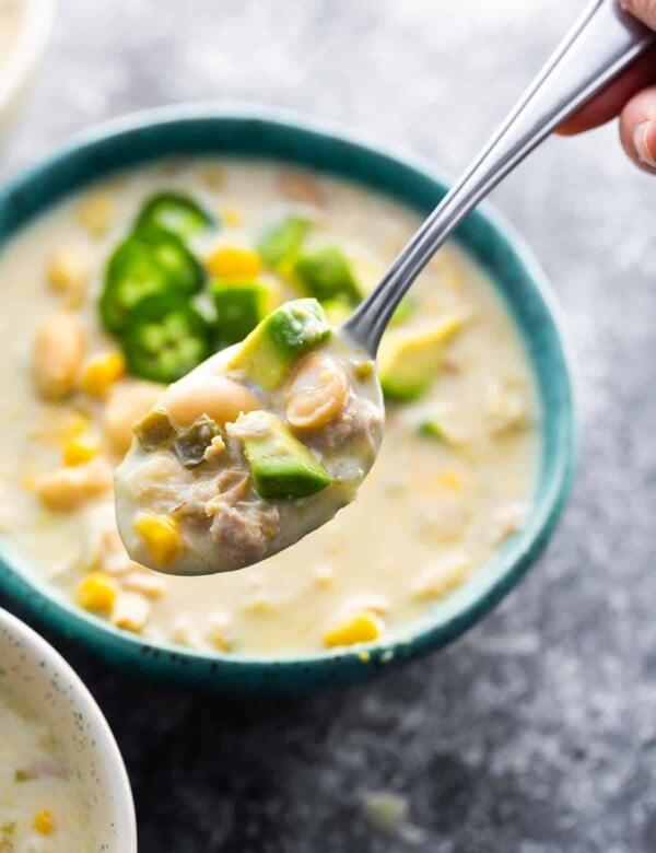 white chicken chili on spoon