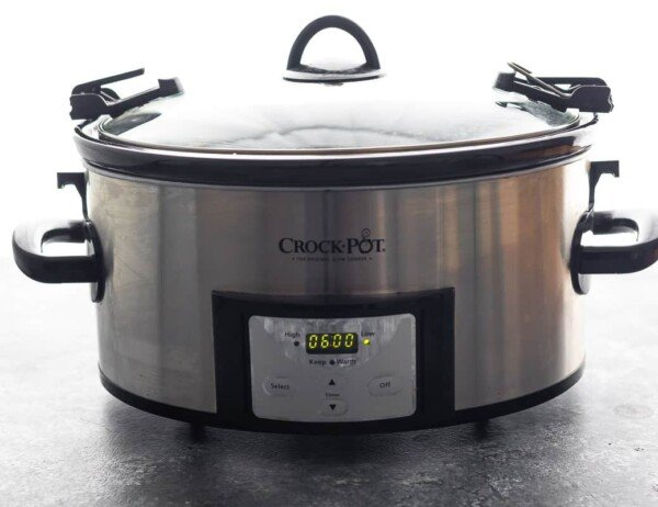 slow cooker with 6 hours programmed on display