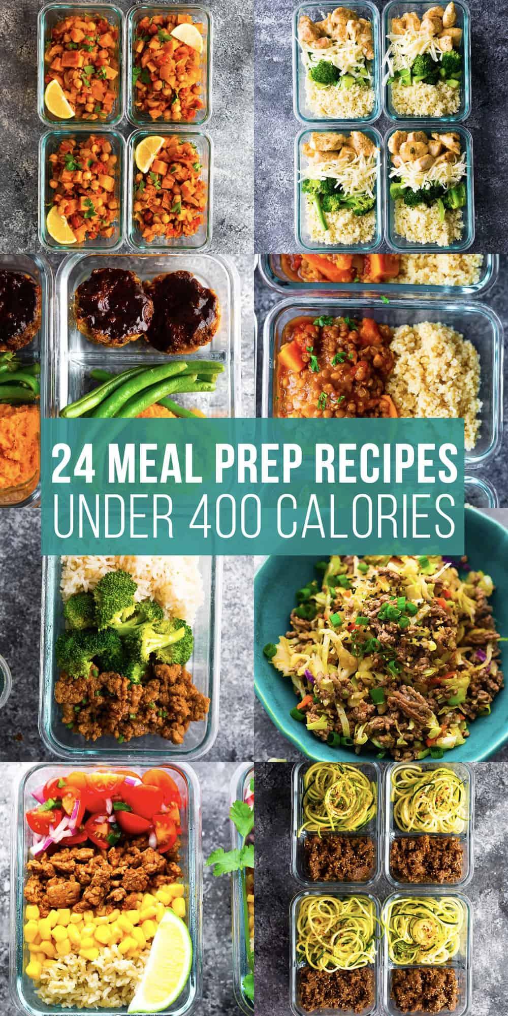 400 kalorinin altında 24 yemek hazırlama tarifi yazan kolaj resmi