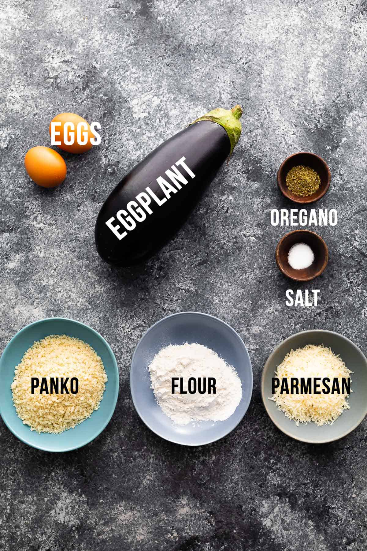 ingredients (labelled) for air fryer eggplant