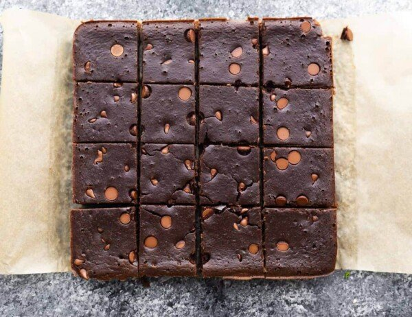 overhead view of cut up black bean brownies