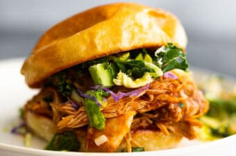 bbq chicken on sandwich with slaw