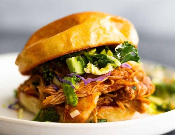 bbq chicken on sandwich with slaw