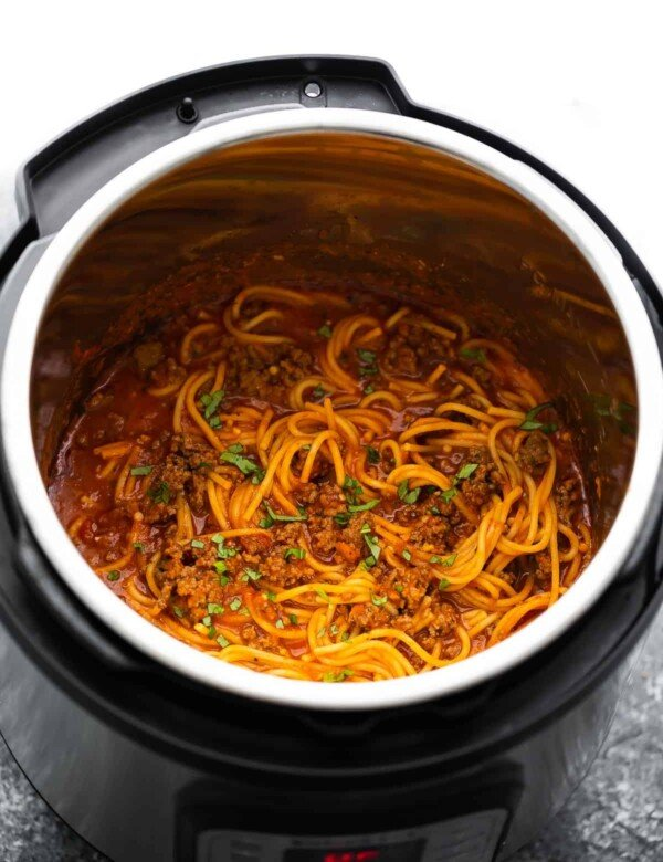 angle view of spaghetti and meat sauce in the instant pot