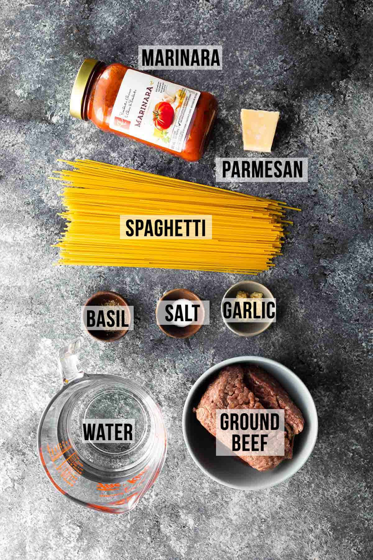ingredients (labelled) for instant pot spaghetti