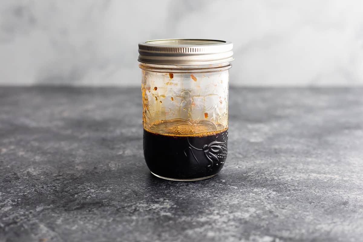 teriyaki sauce shaken up in 1 pint jar