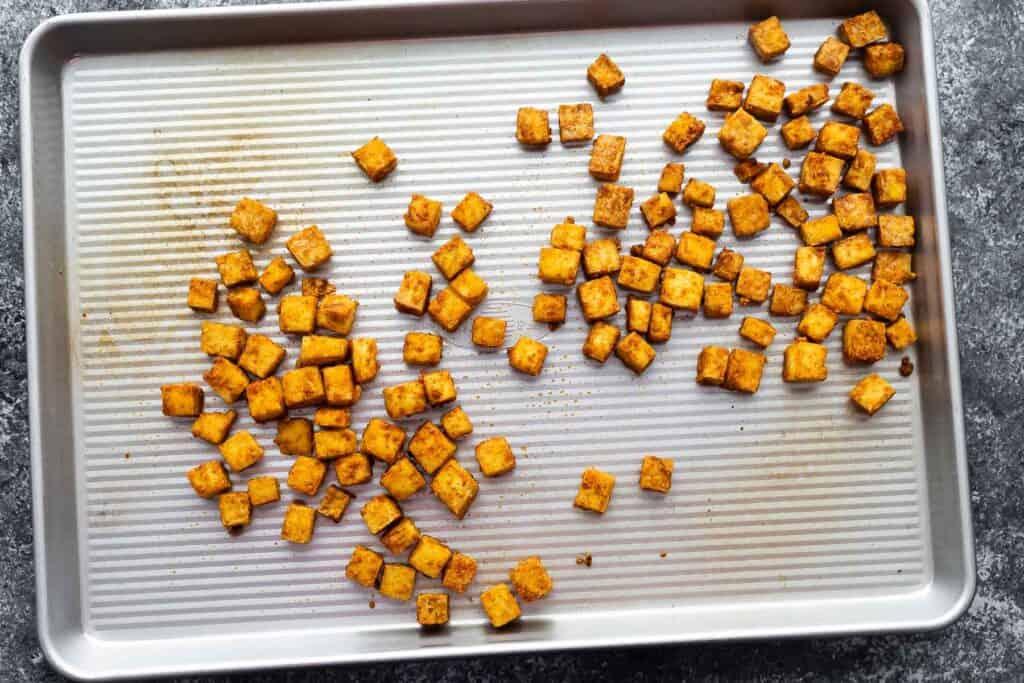 baked tofu on sheet pan