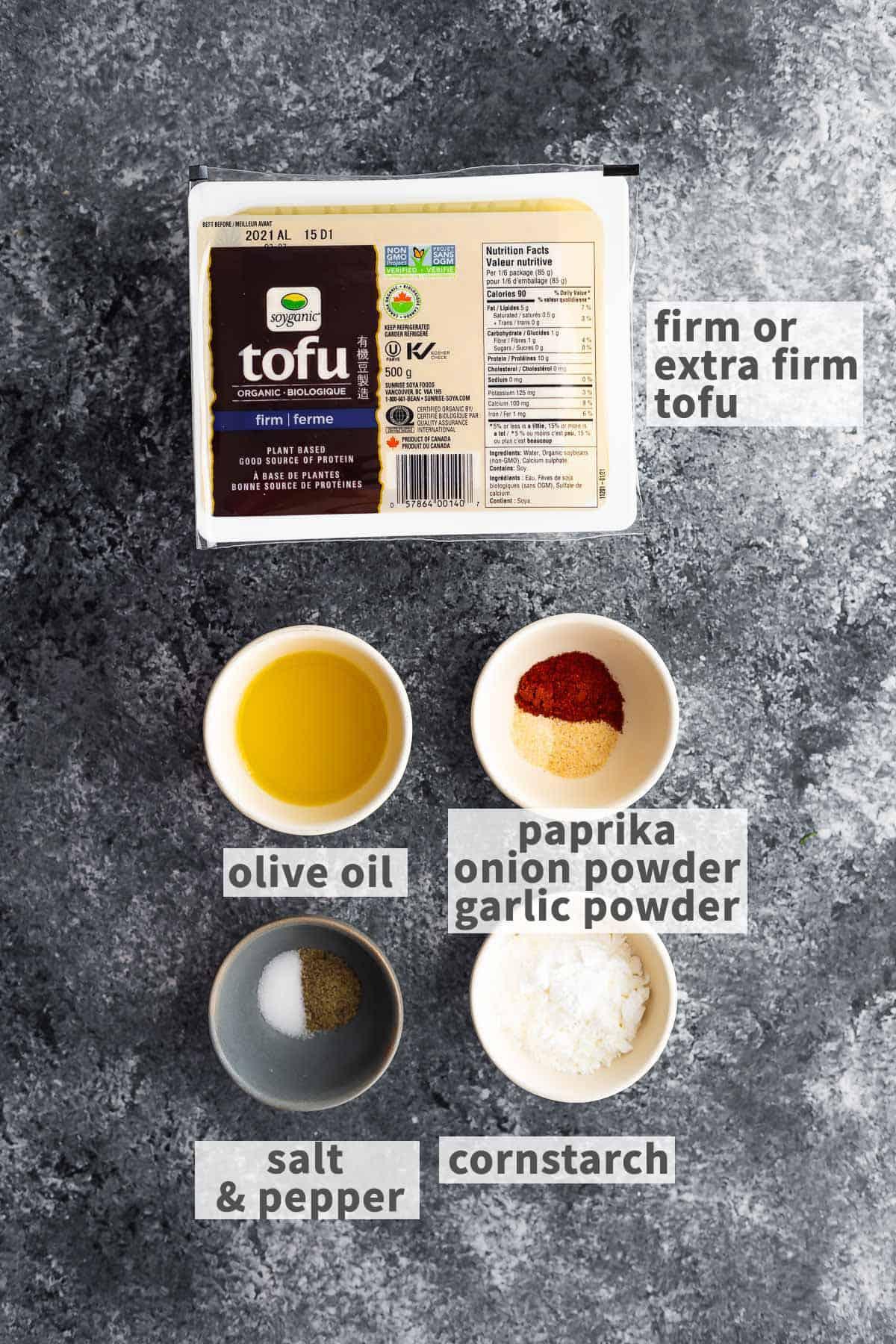 çıtır pişmiş tofu yapmak için gerekli malzemeler