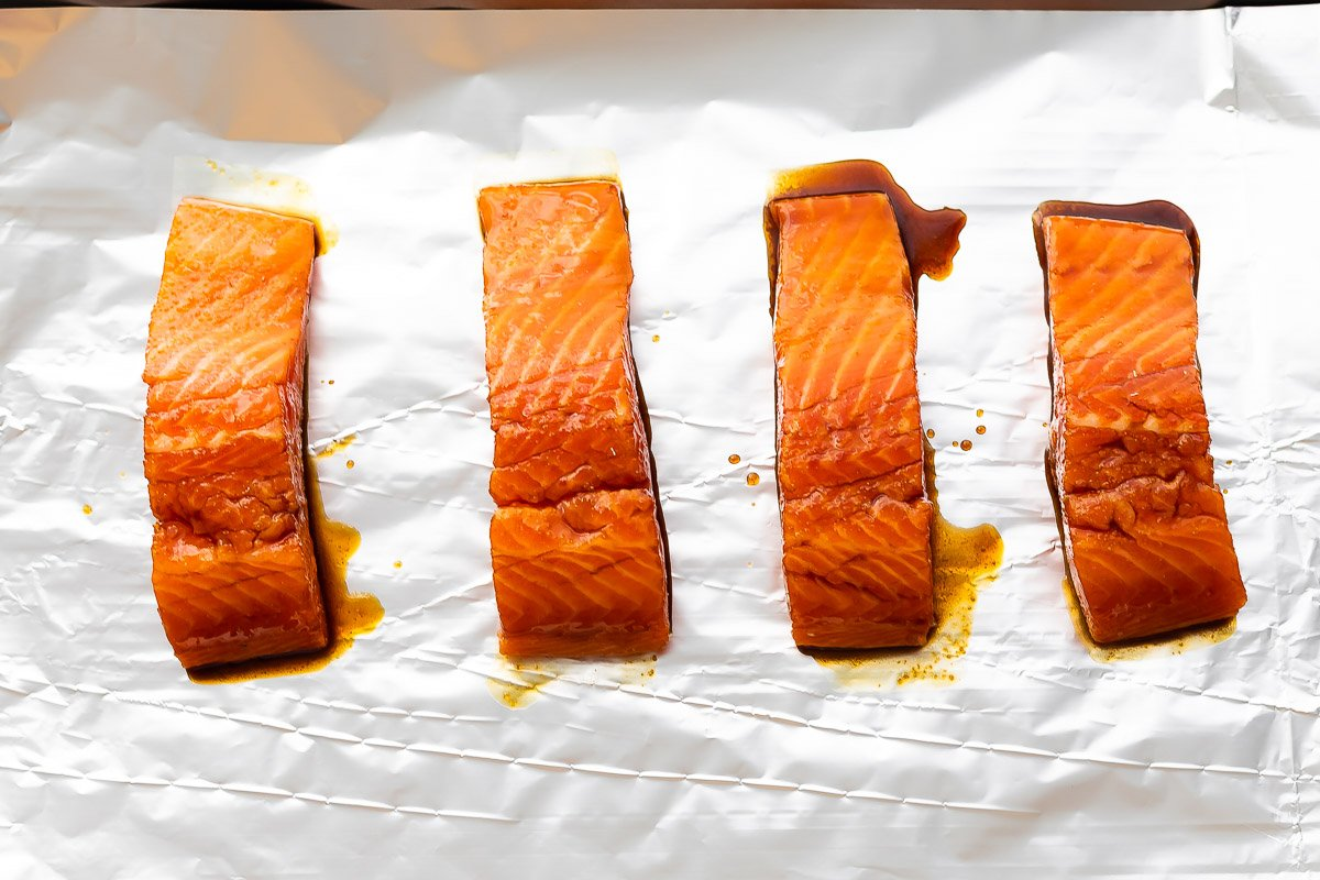 balsamic salmon on baking sheet
