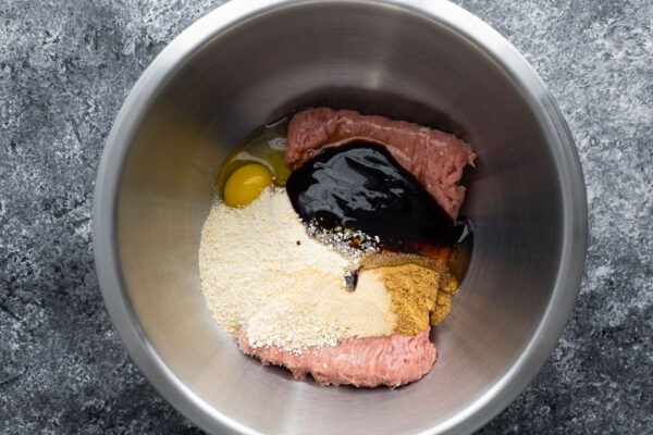 hoisin turkey meatloaf ingredients in a bowl