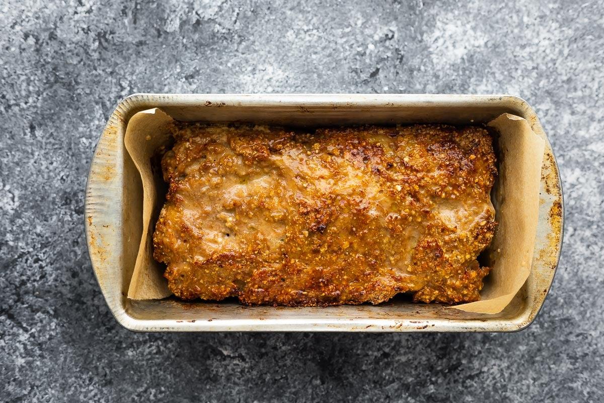 baked turkey meatloaf in pan
