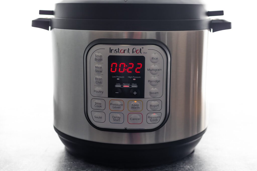 instant pot with 22 minutes on the timer