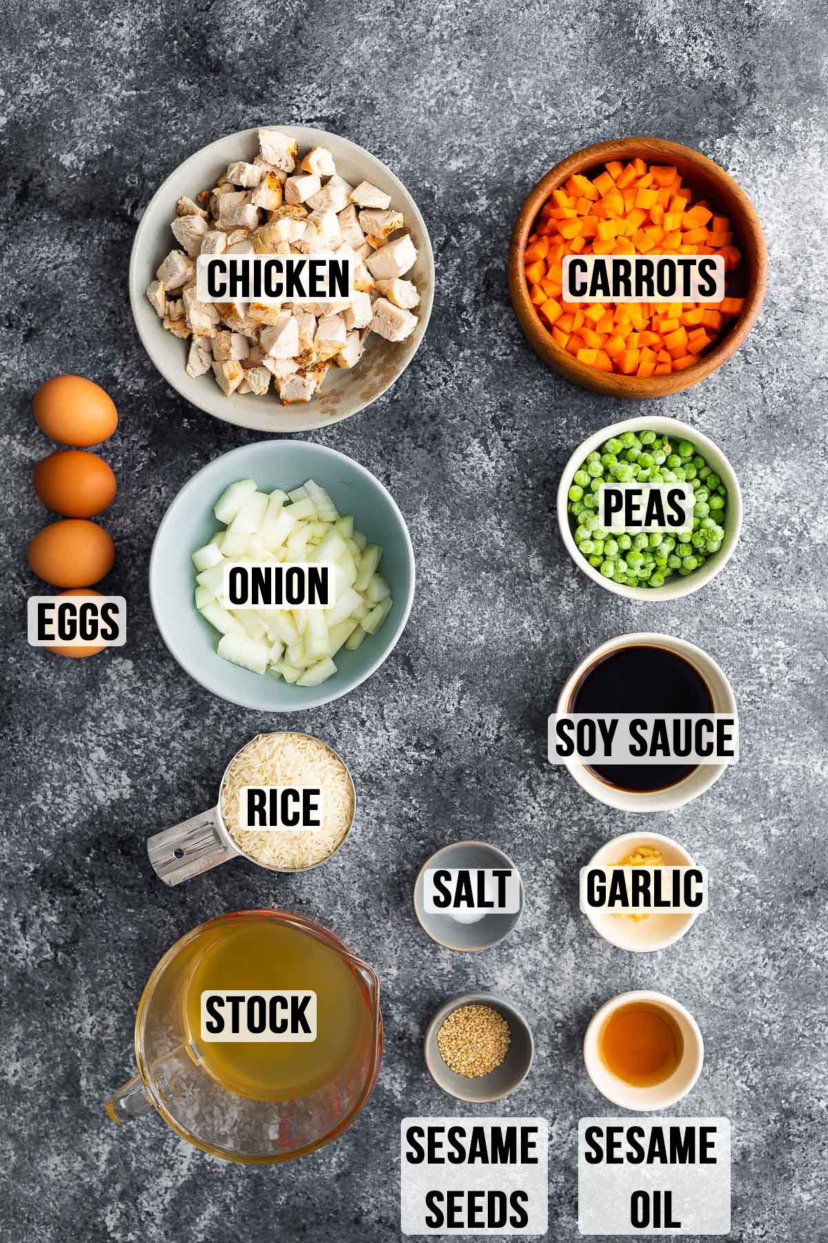 labeled ingredients required to make instant pot fried rice