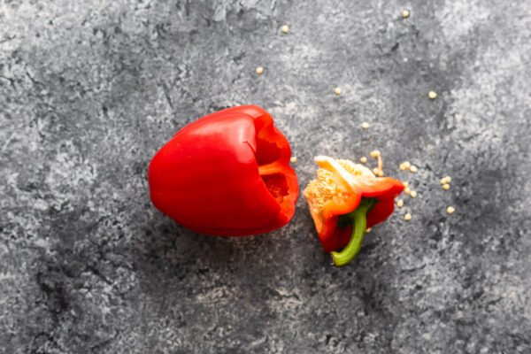 stuffed pepper with the lid taken off