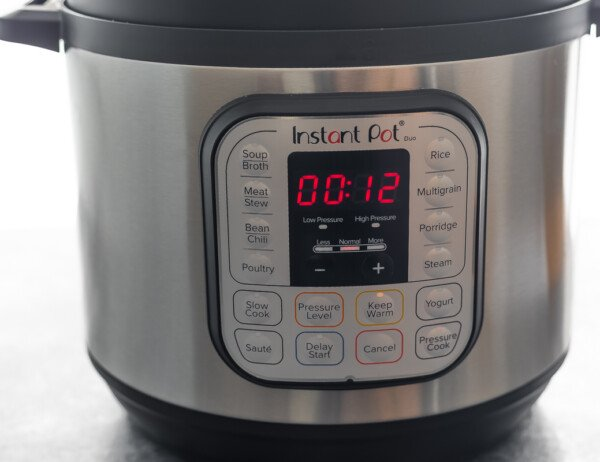instant pot with 12 minutes on timer