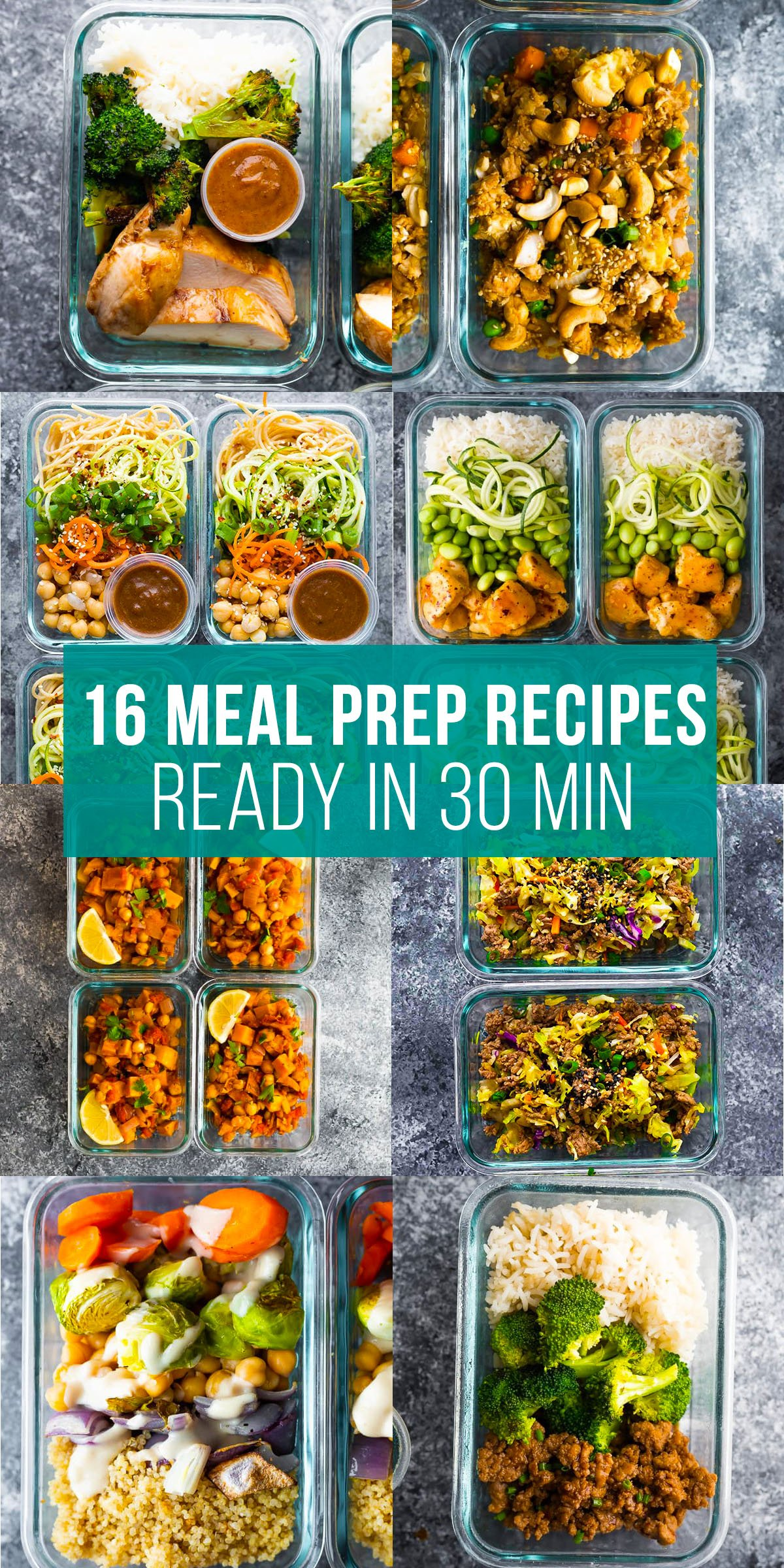 collage image that says 16 meal prep recipes ready in 30 min