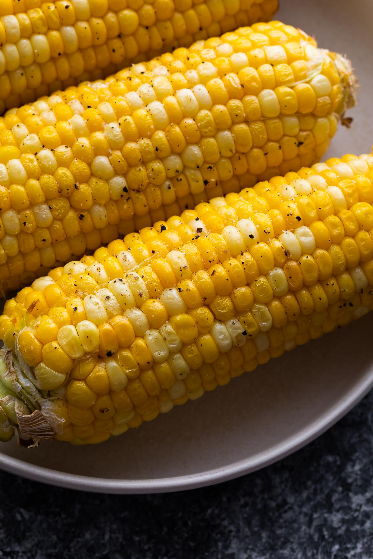 close up shot of air fried corn on the cob