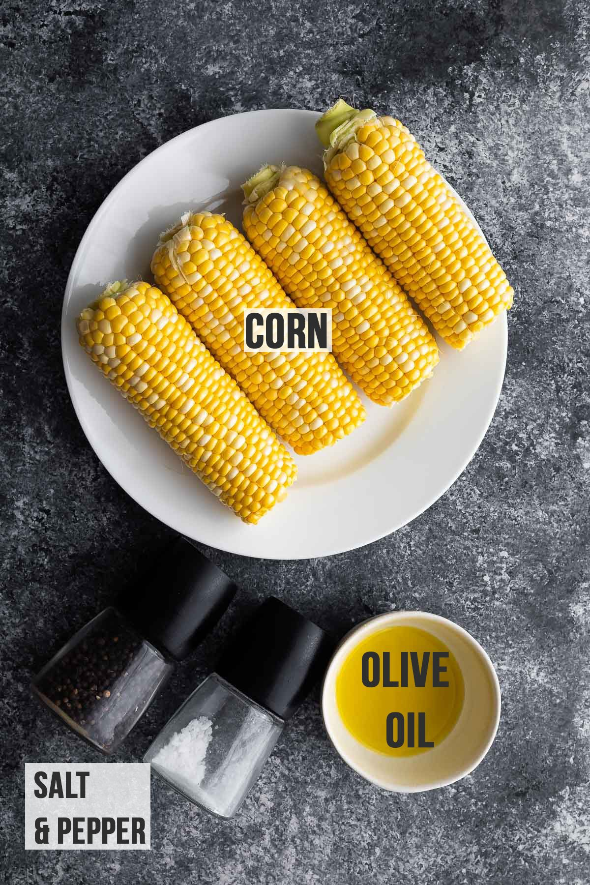 ingredients (labelled) required to make air fryer corn on the cob