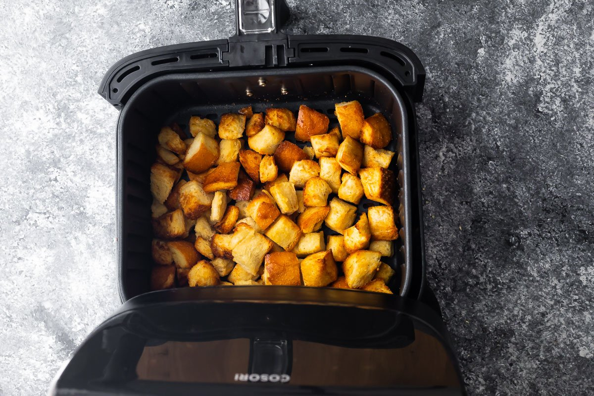 croutons in the air fryer after cooking