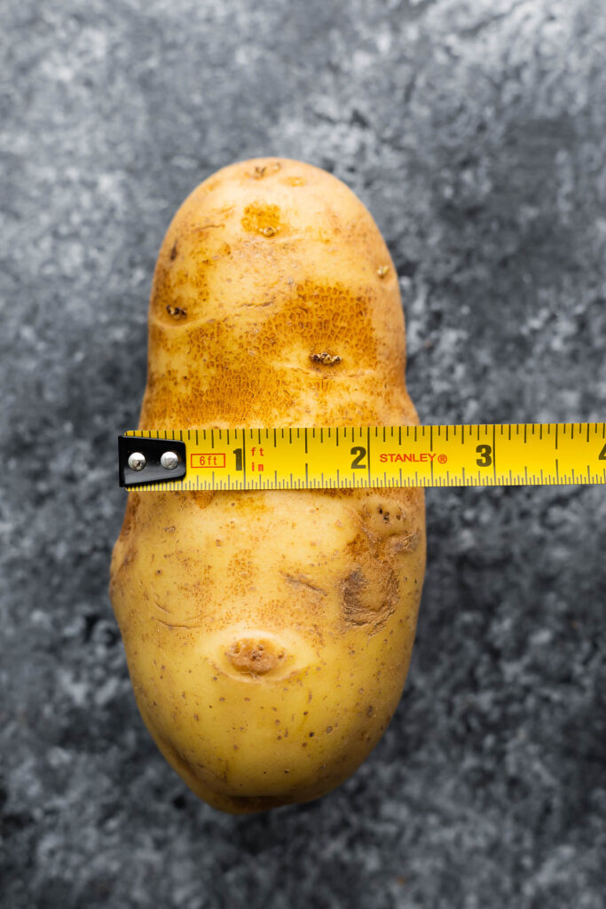potato with measuring tap measuring 2.5 inches