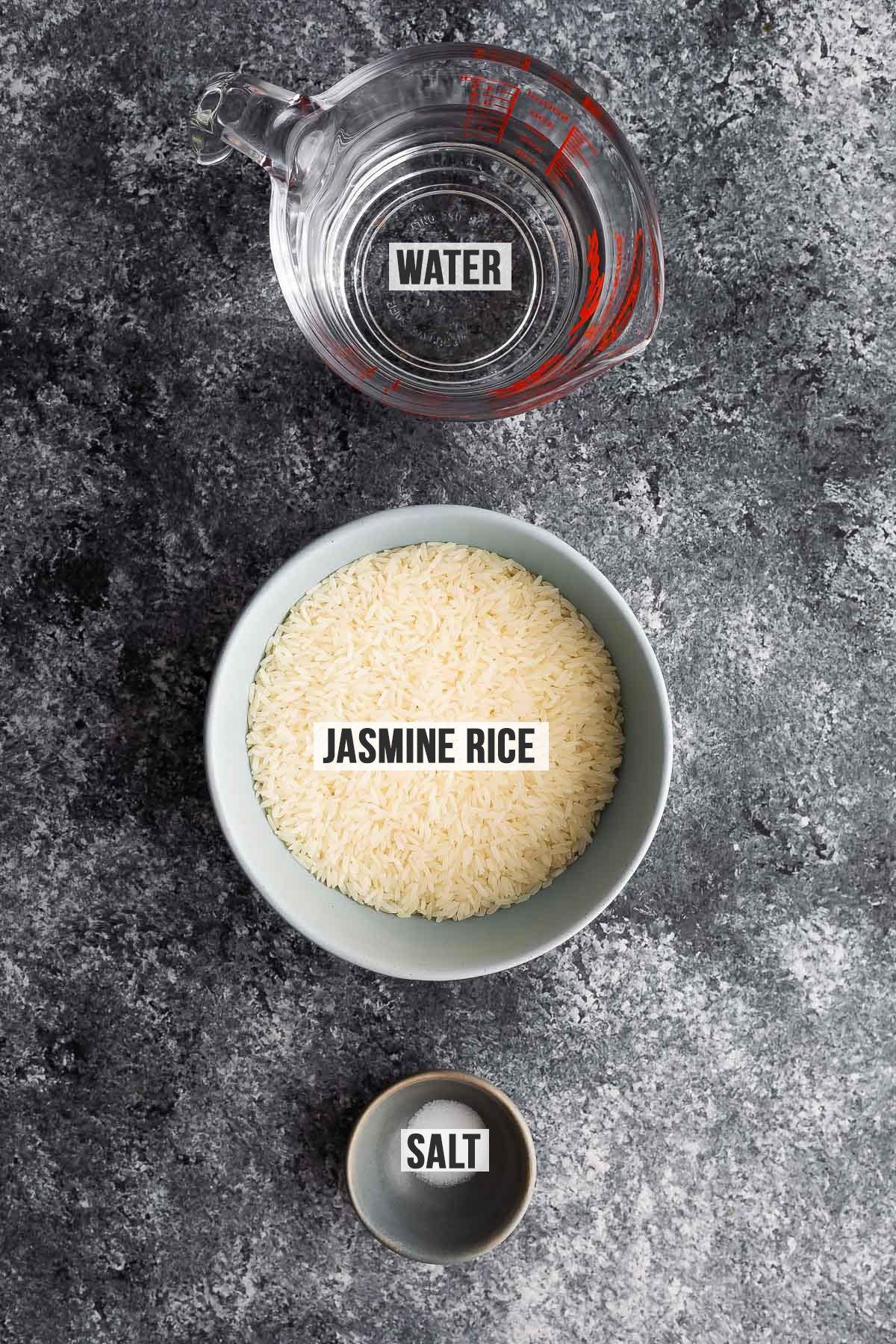 overhead view of ingredients required to cook jasmine rice in the instant pot