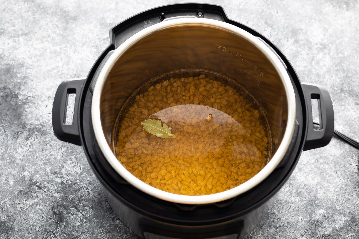 pinto beans, water, bay leaves and spices in instant pot before cooking
