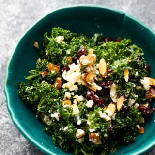kale salad in blue bowl