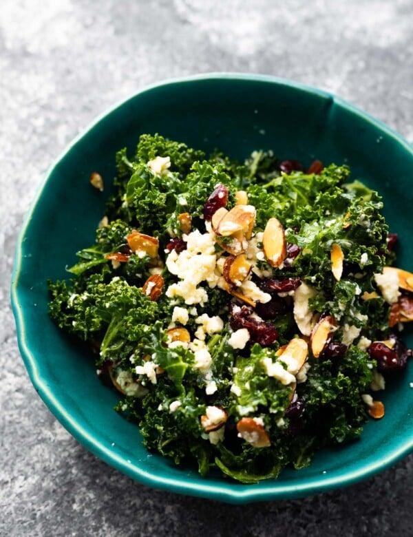 kale salad in blue bowl