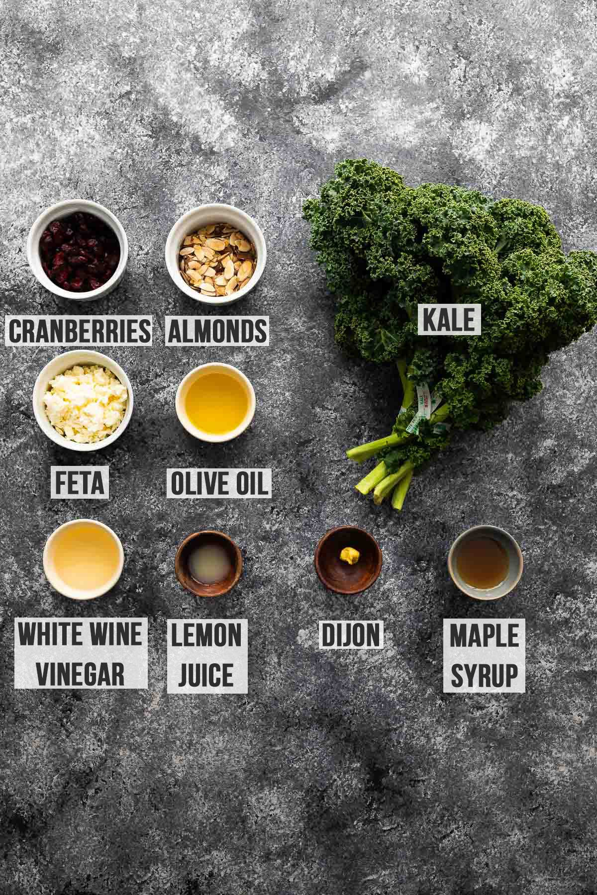 ingredients required to make kale salad (labelled)