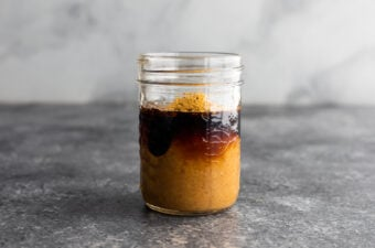 peanut tofu stir fry sauce in jar- side angle