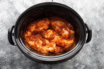 uncooked salsa chicken in slow cooker