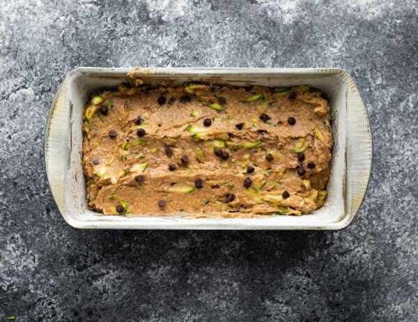 zucchini bread in loaf pan before baking