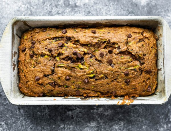 zucchini bread in loaf pan after baking