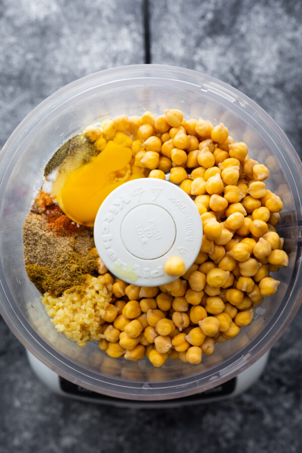 ingredients for air fryer falafels in food processor