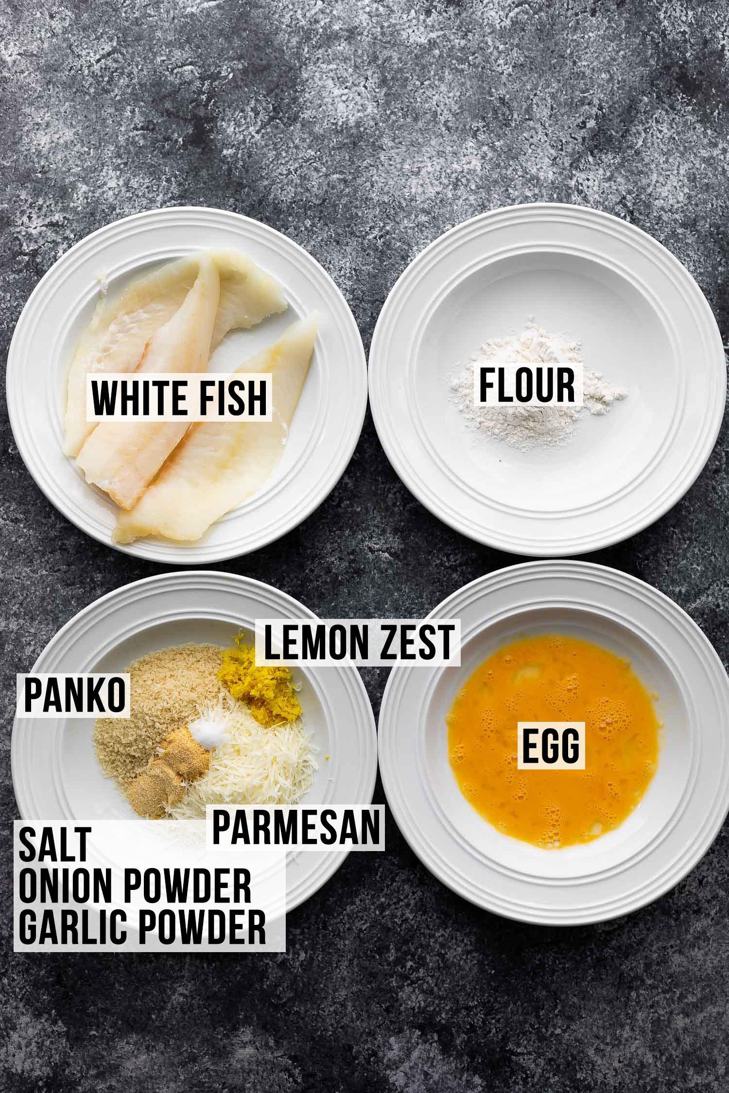 fritöz balıkları için malzemeler (etiketli)