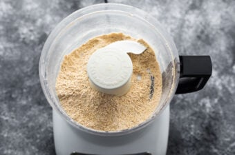 blended dry ingredients in food processor for protein bars