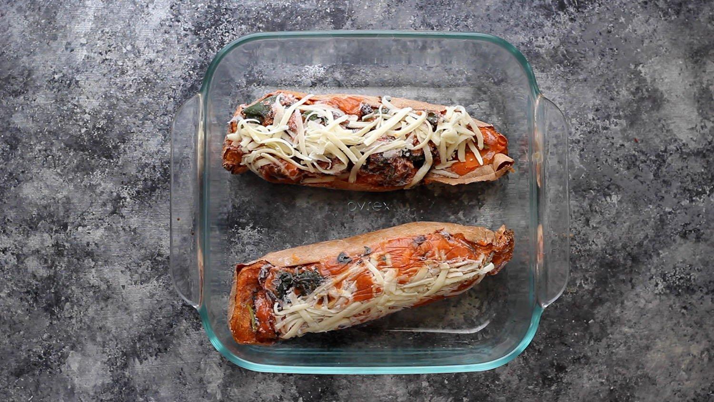 frozen sweet potatoes in baking dish