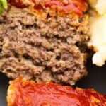 close up shot of meatloaf, showing how juicy it is