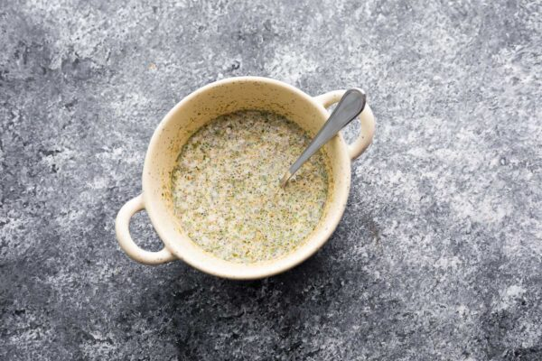 breadcrumb and milk mixture in bowl