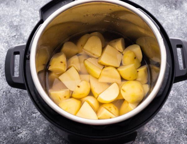 potatoes in the Instant Pot covered with water